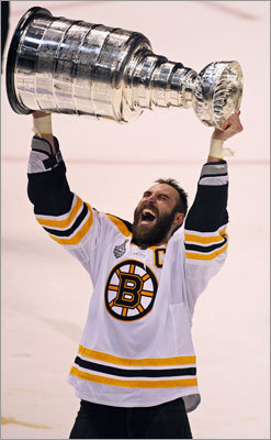 2011 Bruins The image of captain Zdeno Chara becoming the first Bruin to hoist the Cup (left) in 39 years will forever be remembered in Boston. This playoff run will be best remembered for three Game 7 victories, four overtime wins, and Vezina Trophy winner Tim Thomas's four shutouts. It began with the Bruins reeling after two home losses to the rival Montreal Canadiens at the start of the first round and ended with a riveting Game 7 Cup-clinching road victory over the favored Vancouver Canucks.