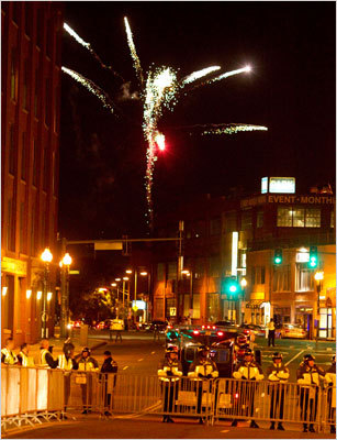 Boston Police barricaded off Causeway Street and fireworks erupted over the North End.