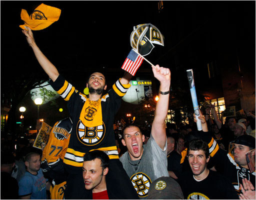 Bruins fans celebrated on the street near TD Garden in Boston after the Bruins won the Cup.