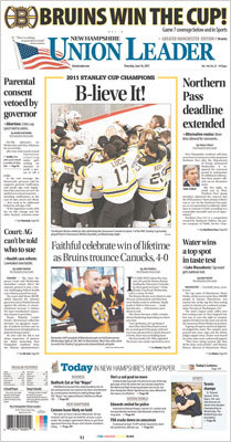 The New Hampshire Union Leader, based in Manchester, used two photos in a central package with a headline, 'B-lieve It!'