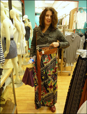 Urban Shopping Adventures' fashion insider Christine Silvestri picks out a leather-sashed number at Marc Laurent.