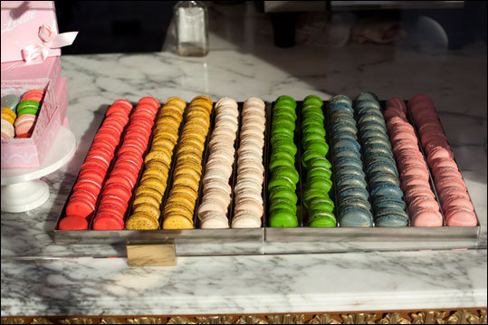 Multi-colored Macaroons at Bottega Louie - a giant, marble and brass clad restaurant, gourmet market, and patisserie.