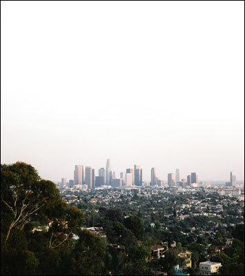 A view of the downtown skyline from the hills of Silverlake.