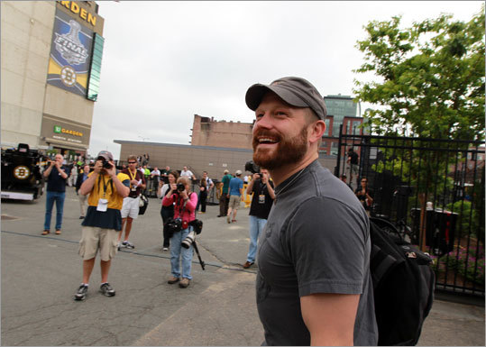 Bruins goalie Tim Thomas, the Conn Smythe Trophy winner as MVP of the NHL playoffs, arrived at the Garden with a smile on his face.