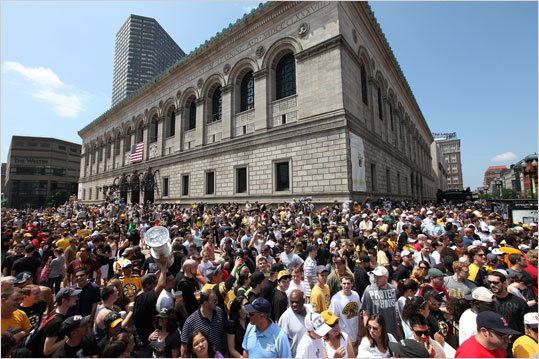 Fans waited in Copley Square.