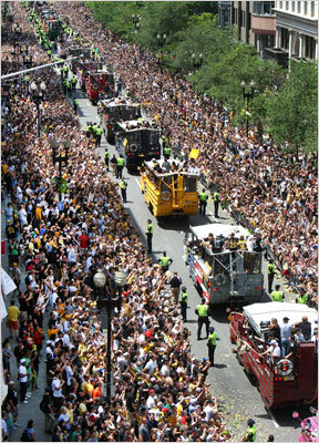 During the Bruins rolling rally, the duck boats headed down Boylston Street toward Copley Square.