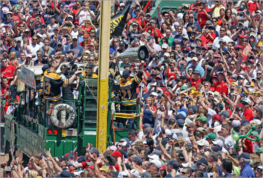 Red Sox fans near Pesky's Pole got as close as possible to the Cup.