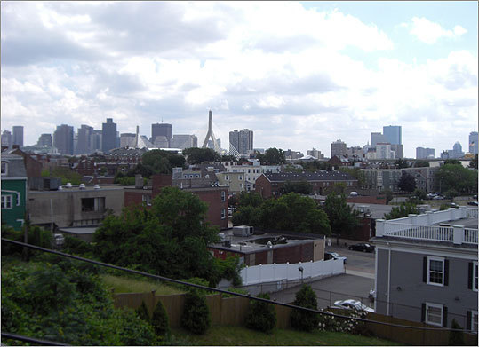 The garden also features a view of the Boston skyline.