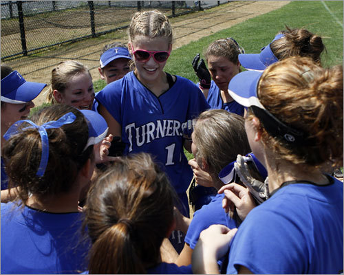 Turners Falls triumphs Division 3 state softball final: Turners Falls junior Samantha Caouette drove in the lone run against Case High School at Worcester State College. Her teammates met her at first base and celebrated, as Turners Falls completed its perfect season 25-0. Story: Turners Falls 1, Case 0