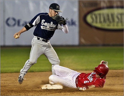 Plymouth North displays its toughness Division 2 state baseball final: Plymouth North's Jamie Dougherty (pictured) robbed Hudson center fielder Chris Tobin of a hit with his diving catch in a pivotal situation to preserve a 3-1 lead that would hold for the title. Dougherty shouldn't have even played, Eagles coach Dwayne Follette said, due to an elbow injury sustained in the semifinals. Story: Plymouth North 3, Hudson 1