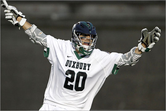 "Duxbury gets the job done Division 1 East boys' lacrosse final: In a title game repeat, Duxbury fended off St.John's Prep, using a five-goal run in the third quarter to capture the crown, 16-9. Prep had rallied to an 8-4 victory the year before. ""Was it redemption?'' asked Duxbury coach Chris Sweet. ""Maybe a little bit. But both teams are different this year. But for sure, our boys remembered 365 days ago, when it was St. John's celebrating. In that regard it feels great.'' Story: Duxbury 16, St. John's Prep 9"