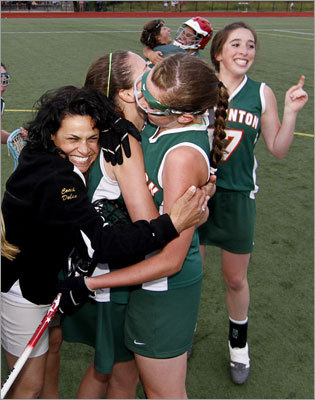 """Hopkinton reaches the top Division 2 state girls' lacrosse final: Hopkinton beat Winchester in a scoring showdown, 18-15, at Wellesley College on June 13. The Hopkinton Hillers had lost the Division 2 South sectional four straight years before going all the way this year. """"It helped because I had already reached the goal in my mind to make it to the state finals, so winning the game was just going to be icing on the cake,' Hopkinton coach Jodi Dolan said. 'And now to really win it, I'm just so happy for the girls.'' Story: Hopkinton 18, Winchester 15"""