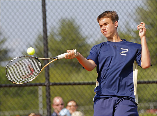 Needham nets its first crown Division 1 state boys' tennis final: Aaron Revzin came from behind in the second set of a first-singles match against St. John's Chris Ellis to lead Needham to a state title and perfect season. Story: Needham 5, St. John's of Shrewsbury 0