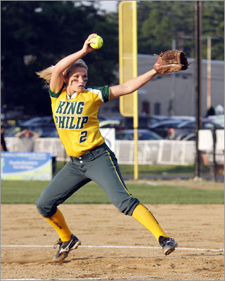 King Philip wears crown Division 1 state softball final: Meg Rico had the crowd on its feet under the lights Saturday at Worcester State's Rockwood Field. Rico struck out a career-high 19 and broke up Emma Mendoker's perfect game bid on a single with two outs in the sixth inning. The hit started a rally to give the Warriors a 1-0 win over Amherst-Pelham for the title. Story: King Philip 1, Amherst-Pelham 0