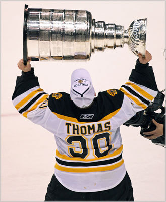 Thomas helped the Bruins to win the Stanley Cup, his first, starring in net in the final series against the Vancouver Canucks. He shut out the Canucks twice, including in Game 7 when he recorded 37 saves.