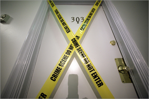 Yellow tape covered the door of the apartment where the FBI said Bulger and Greig were staying.