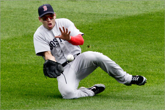 June 26: Red Sox 4, Pirates 2 Jacoby Ellsbury slid to make the catch on a sacrifice fly to center field by Pittsburgh's Ronnie Cedeno during the fourth inning.