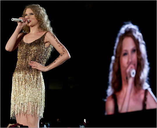 """Enchanted"" played up the fairytale fantasy that's so pivotal to Swift's success. If you're shocked that she sold out Gillette twice – for a total of more than 100,000 fans – consider that she's selling something her peers aren't: wholesome values from a young perspective. Shock and raunch have no place in her songs; Swift is more concerned with connecting to her fans on the most basic emotional level. Read James Reed's review."