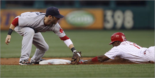 June 28: Phillies 5, Red Sox 0 Phillies shortstop Jimmy Rollins stole second ahead of Dustin Pedroia's tag in the third inning. Rollins walked, but was stranded when Chase Utley flied out to center field to end the inning.