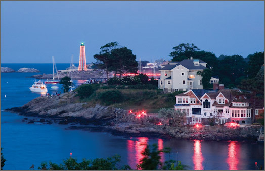 In the July 2012 issue of Coastal Living magazine , Marblehead was ranked one of the top 15 places nationwide to celebrate the Fourth of July. Marblehead was again the only place in New England to make the list . Click through this gallery to see photos from previous years of the fireworks show. The fireworks start at 8:45 p.m. on Wednesday, July 4, at the Marblehead Harbor. To find the best way to get to Marblehead visit The Marblehead Fireworks site . Left: 2005 Harbor Illumination from Fountain Park off Orne Street.