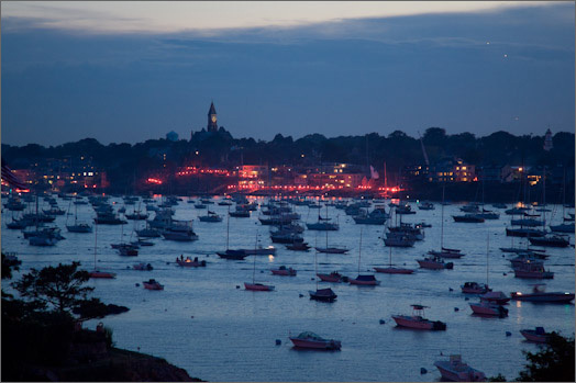 2007: Harbor Illumination from the Marblehead neck looking back at Abbot Hall, the highest point in Marblehead.