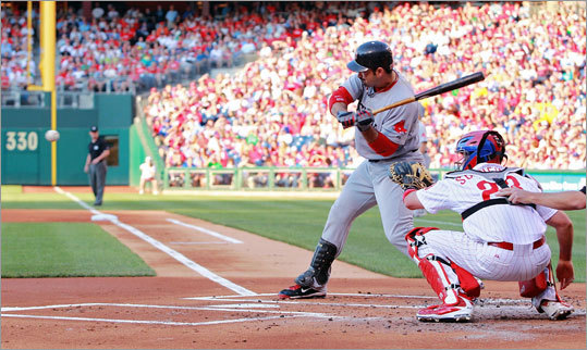 June 29: Phillies 2, Red Sox 1 Adrian Gonzalez went 1-for-4 against the Phillies, managing a single to center field in the sixth inning off starter Vance Worley.