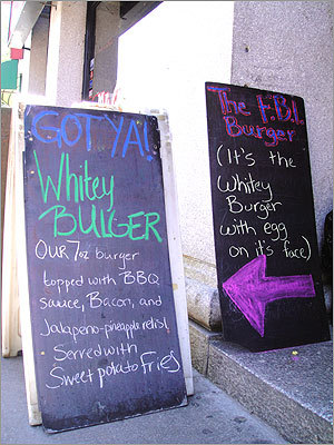 Mr. Bartley's Gourmet Burgers in Harvard Square, known for naming burgers after famous people, put the 'Whitey' Bulger burger on the menu when the FBI announced its TV campaign to find the South Boston mobster. The burger came with the tagline, 'Where's 'Whitey?' But when they arrested him later they changed the tagline to 'Got ya!' Lately, Bartley's has been getting attention for its menu of politically-themed offerings with the Barack Obama, the Mitt Romney, the Scott Brown, and Elizabeth Warren. Take a look at some options. What celebrity-inspired burger should be on Bartley's menu and what would it be made of?