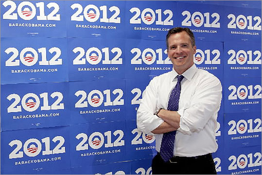 Gifford stood inside the Obama 2012 campaign headquarters in downtown Chicago on June 9.