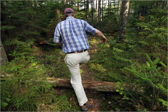 David MacDonald, Director of Land Protection for the Maine Coast Heritage Trust, a nonprofit which has purchased 516 acres of land adjacent to Acadia National Park, walks through the land.