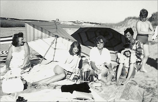 In the 1960s, the author and several relatives on their summer times on the beach at Lieutenant Island in Wellfleet.
