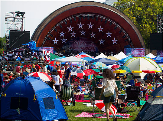 The prime spots in front of the Hatch Shell have been claimed, as thousands of revelers, some of whom waited in line overnight, are in place for tonight's Fourth of July concert by the Boston Pops.