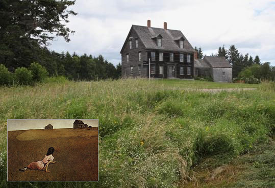 "The Olson House in Maine, where Andrew Wyeth painted ""Christina's World"" (inset)."