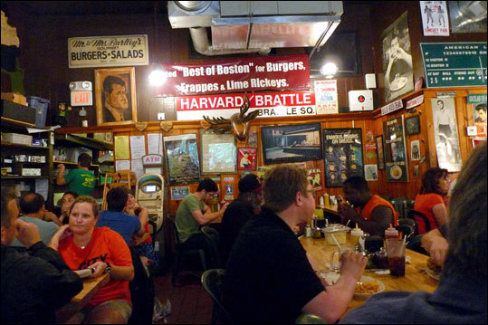 Mr. Bartley's Gourmet Burgers - Cambridge A stalwart of Harvard Square since 1960, Bartley's is the quintessential college town burger joint. They keep up to date with cute names for the burgers that change with the election returns and pop-culture trends. Thus the current Scott Brown (bacon, American cheese, grilled onions, jalapenos, and fries) and Sarah Palin (grilled onions, cheese sauce, and fries). All the burgers are based on well-salted, inch-thick 7-ounce patties of beef ground fresh daily. The favorite is the Jersey Shore (bacon, cheese, grilled onions and mushrooms, onion rings). Runner-up is the John Kerry (Swiss cheese, mushrooms, lettuce and tomato, potato salad). 1246 Massachusetts Ave., 617-354-6559, no credit cards, $9.49-$13.10