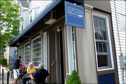 Blue Spoon - Portland, Maine Far from the tourist-haunted Old Port, this little neighborhood bar and restaurant on artsy Munjoy Hill is one of those secrets that Portland gourmands mostly keep to themselves. The burger is one of the leanest yet tastiest pieces of beef most of us will ever encounter. The beef is free-range, grass-fed Scottish Highland supplied by A Wee Bit Farm (operated by a retired South Boston police officer) in Orland, Maine. The kitchen keeps a pile of caramelized grilled onions and mushrooms working on the edge of the grill and the cook mixes some of the sweet and tangy blend right into the patty. The burger is grilled to a nice external char and served on a soft but not spongy bun accompanied by a side of warm potato salad tossed in an herb-laden vinaigrette. It's aptly called the Bistro Burger. 89 Congress St., 207-773-1116, $10