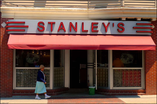 Stanley's Famous Hamburgers - Central Falls, R.I. Polish immigrant Stanley F. Kryla opened his hamburger joint in 1932. The Stanleyburger, as he called it, remains a modest patty of freshly ground beef served on a soft bun with grilled onions and tangy sweet pickles. It can be gussied up with tomato, mushroom, bacon, cheese, or pepper, but the original remains a standard. Grab a seat at the counter and watch the grill cook at work. 535 Dexter St., 401-726-9689, $1.99-$5.49