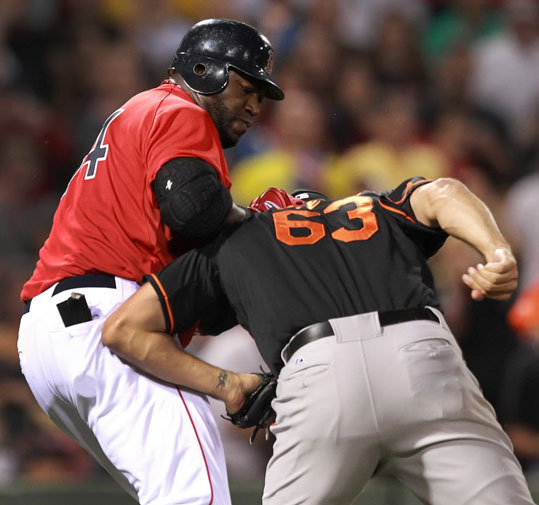 Friday night's dust-up involving David Ortiz was just the latest in a long line of Red Sox melees around the mound. Here, Big Papi and Baltimore Orioles relief pitcher Kevin Gregg mix it up in the 8th inning after Ortiz felt that Gregg was throwing at him. We take a look back at other memorable fights on the field involving the Red Sox and the Yankees, Orioles, Rays, and more.