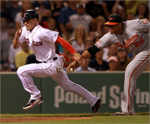 July 9: Red Sox 4, Orioles 0 Jacoby Ellsbury got caught in a rundown in the fifth inning and was tagged out by Orioles pitcher Alfredo Simon.