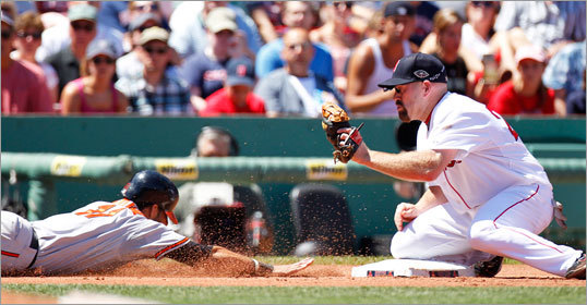 July 10: Red Sox 8, Orioles 6 Red Sox third baseman Kevin Youkilis (right) couldn't get a break as Baltimore's Robert Andino was called safe at third base in the top of the second inning.