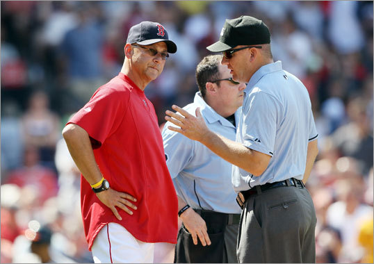 July 10: Red Sox 8, Orioles 6 Red Sox manager Terry Francona spoke with umpires after Sox starting pitcher Kyle Weiland was thrown out of the game in the fourth inning after hitting Baltimore DH Vladimir Guererro with a pitch. Francona was ejected from the game as well.