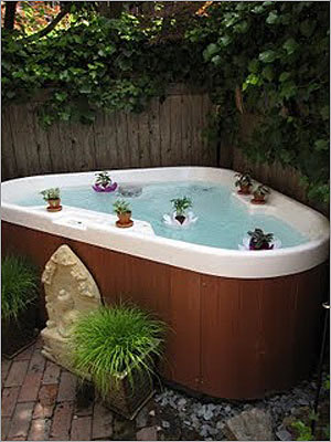 Montgomery Street: Once inside the patio, a hot tub is seen with little flower-shaped rafts circling the hot tub.