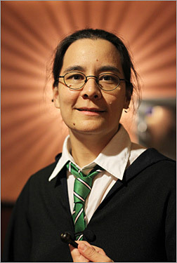 Another theater-goer in costume was Cambridge's Cecilia Tan, author of a series of Harry Potter-inspired romance novels who came dressed as a Slytherin student.