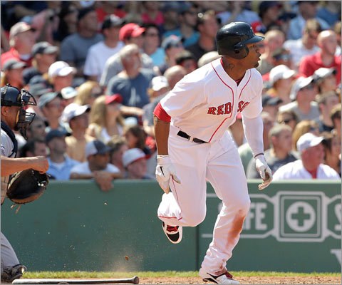 July 24: Red Sox 12, Mariners 8: Carl Crawford came alive at the plate Sunday, going 3 for 4 and knocking in two runs with this hit in the 5th inning.