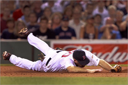 July 23: Red Sox 3, Mariners 1: Red Sox third baseman Kevin Youkilis (20) made a diving stop of a grounder by Mariners shortstop Brendan Ryan in time to complete to play to first for the last out in the seventh inning.