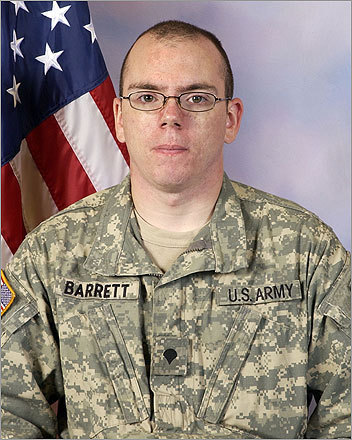 Sergeant Robert J. Barrett, 20, Fall River Barrett, 20, of Fall River was a National Guardsman serving in the 101st Field Artillery. He died from injuries sustained during a suicide bomb attack in Kabul, Afghanistan, on April 19, 2010. Eight other Massachusetts National Guardsmen were wounded in the attack.