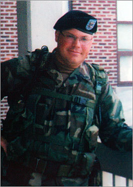 Sergeant Theodore W. Perreault, 33, Webster Perreault, an EMT and volunteer firefighter, was part of a National Guard unit sent to Cuba to patrol the land around the Camp Delta military prison. He died of a noncombat-related gunshot wound Dec. 23, 2003. The death was the first in the Guantanamo operation in more than a year. During his call-ups, his daughters made flags out of beads and sold them at craft fairs, raising enough money to buy a TV, VCR, and outdoor grill for their dad's unit.