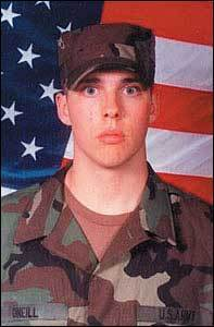 Private First Class Evan W. O'Neill, 19, Haverhill O'Neill, was inspired by his father who was a firefighter in the Army. He was proud of his father's military service and couldn't wait to join. He was killed Sept. 29, 2003, in an ambush in Shkin, Afghanistan. The night before he died, he'd called his mom and told her how cold and dark it was in Afghanistan. After her son died, Barbara O'Neill organized volunteers to make quilts for disabled veterans, and the city of Haverhill named a new veterans hall in honor of him.