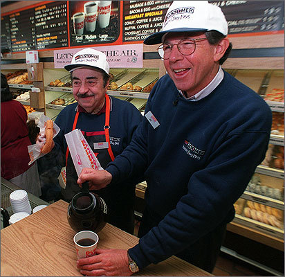 Vale, who was a part of 200 commercials over a decade, was the chain's pitchman until 1997. Left: Vale and former Dunkin' Donuts chief executive Bob Rosenberg at the original Quincy Dunkin' Donuts location in 1995.