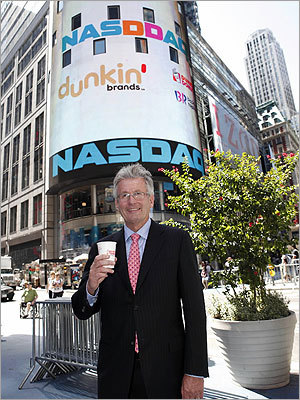 "Dunkin' Brands Group was a hot stock its first day of trading on the stock market in July 2011 with shares soaring 46 percent above the initial public offering price, even as a looming US debt default cooled the rest of the market. Dunkin' Brands chief executive Nigel Travis, left, said he was pleased with Wall Street's response and that of Dunkin' fans who buzzed about the chain on microblogging service Twitter. ""One of the Tweets suggested that we have a Massachusetts holiday to celebrate the Dunkin' IPO,'' he said. ""We think it's a good idea.'"