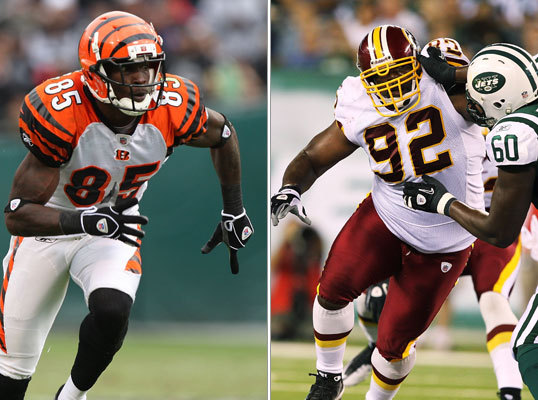 Of course, the two most high-profile trades are the ones that brought defensive tackle Albert Haynesworth (right) from the Redskins and wide receiver Chad Ochocinco (left) from the Bengals. The moves give the Patriots two players who at one time have been NFL stars, and it puts the media spotlight squarely on Foxborough (not that it isn't usually).