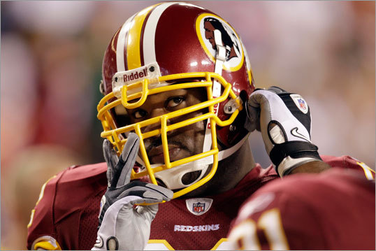 When healthy and motivated, the 6-foot-5-inch, 320-pound Haynesworth is one of the most talented defensive players in the league, routinely overpowering double-teams to rush the passer or defend the run. Haynesworth had a career-high 8.5 sacks with Tennessee in 2008.
